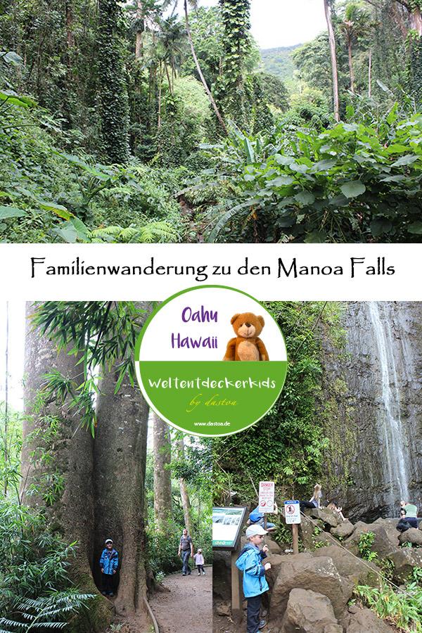 Familienwanderung zu den Manoa Falls auf Oahu Hawaii.